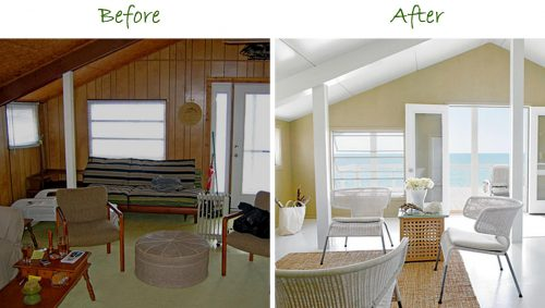 Whitewash Wood Paneling Makeover Before After Best House