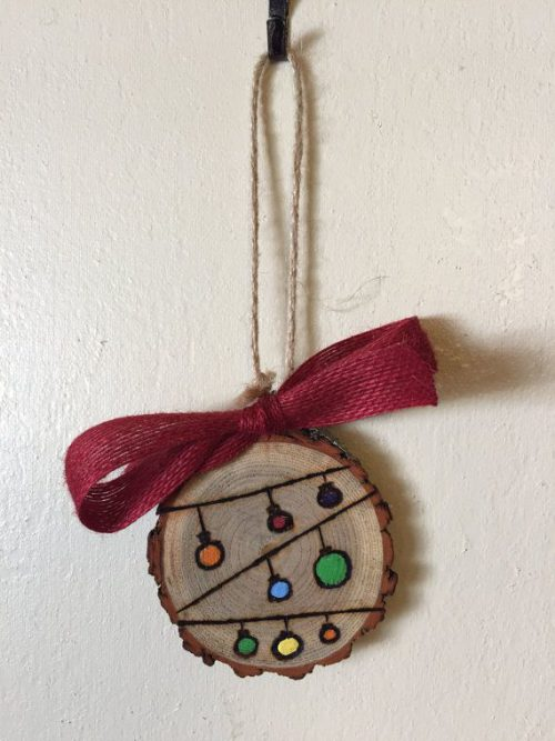 Wood Slice Ornament String Lights Burning Hand Painted Holiday Gift