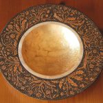 Wooden Bowl Decorated Pyrography Paint Gold