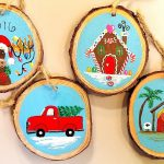 Wooden Christmas Ornaments Acrylic Painting Tutorial Gingerbread House Moose Truck