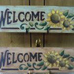 Wooden Welcome Sunflower Sign Hand