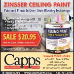 Zinsser Ceiling Paint Sale Now Thru Capps Home Building